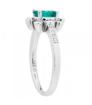 0.85 Carat Oval Cut Emerald and Diamond Ring 14Kt White Gold