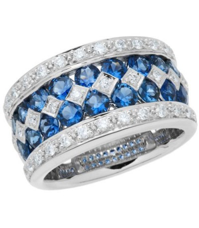 Rings - 3.05 Carat Round Cut Sapphire and Diamond Ring 18Kt White Gold