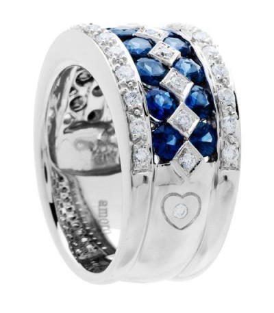 3.05 Carat Round Cut Sapphire and Diamond Ring 18Kt White Gold