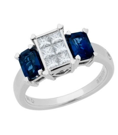 Rings - 1.84 Carat Emerald Cut Sapphire and Diamond Ring 18Kt White Gold
