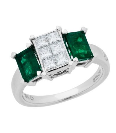 Rings - 1.78 Carat Emerald Cut Emerald and Diamond Ring 18Kt White Gold