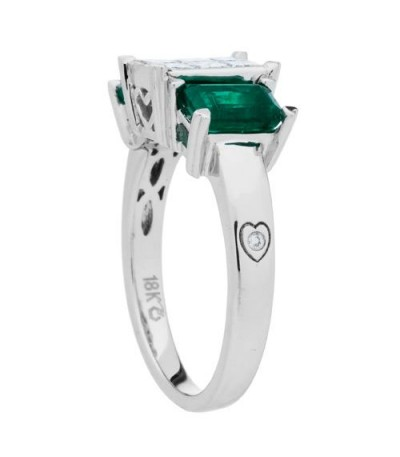 1.78 Carat Emerald Cut Emerald and Diamond Ring 18Kt White Gold