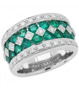 Rings - 2.56 Carat Round Cut Emerald and Diamond Ring 18Kt White Gold