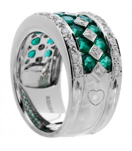 2.56 Carat Round Cut Emerald and Diamond Ring 18Kt White Gold