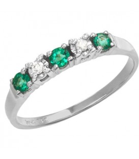 Rings - 0.29 Carat Round Cut Emerald and Diamond Ring 18Kt White Gold