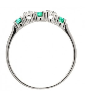 0.29 Carat Round Cut Emerald and Diamond Ring 18Kt White Gold
