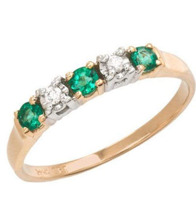 Rings - 0.29 Carat Round Cut Emerald and Diamond Ring 18Kt Two-Tone Gold