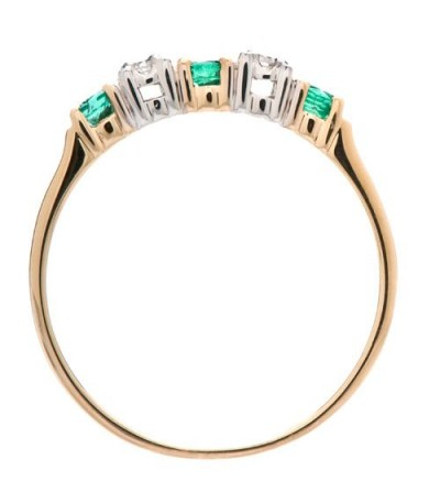 0.29 Carat Round Cut Emerald and Diamond Ring 18Kt Two-Tone Gold
