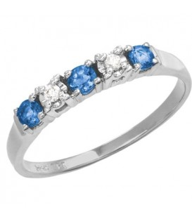 Rings - 0.34 Carat Round Cut Sapphire and Diamond Band 18Kt White Gold