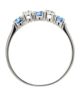 0.34 Carat Round Cut Sapphire and Diamond Band 18Kt White Gold