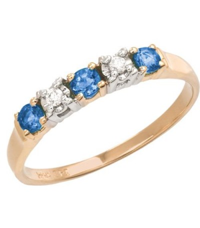 Rings - 0.34 Carat Round Cut Sapphire and Diamond Ring 18Kt Two-Tone Gold
