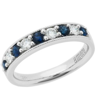 Rings - 0.61 Carat Round Cut Sapphire and Diamond Band 18Kt White Gold