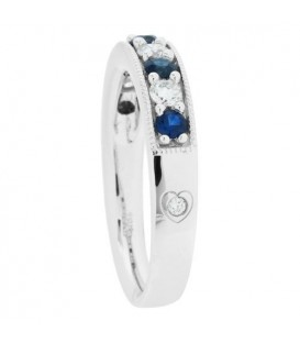0.61 Carat Round Cut Sapphire and Diamond Band 18Kt White Gold