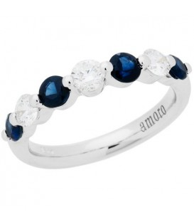 Rings - 1.22 Carat Round Cut Sapphire and Diamond Celebration Ring 18Kt White Gold