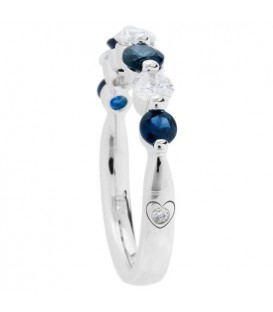 1.22 Carat Round Cut Sapphire and Diamond Celebration Ring 18Kt White Gold