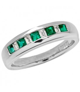 Rings - 0.56 Carat Square Cut Emerald and Diamond Band 18Kt White Gold