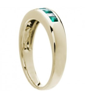 0.55 Carat Square Cut Emerald and Diamond Band 18Kt Yellow Gold