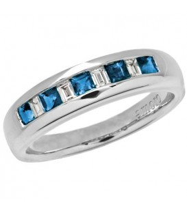 Rings - 0.73 Carat Square Cut Sapphire and Diamond Band 18Kt White Gold