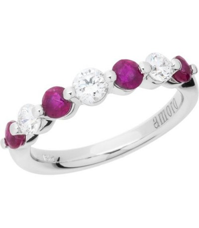 Rings - 1.31 Carat Round Cut Ruby and Diamond Band 18Kt White Gold