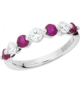 1.31 Carat Round Cut Ruby and Diamond Band 18Kt White Gold