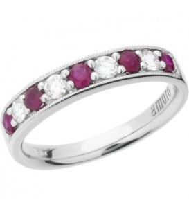 Rings - 0.70 Carat Round Cut Ruby and Diamond Band 18Kt White Gold