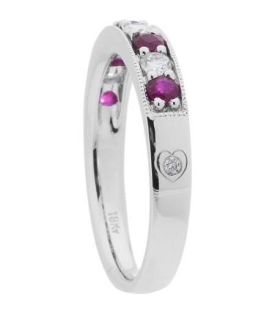 0.70 Carat Round Cut Ruby and Diamond Band 18Kt White Gold