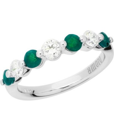 Rings - 1.07 Carat Round Cut Emerald and Diamond Band 18Kt White Gold