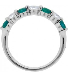 1.07 Carat Round Cut Emerald and Diamond Band 18Kt White Gold