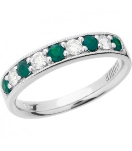 Rings - 0.56 Carat Round Cut Emerald and Diamond Band 18Kt White Gold
