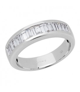 Rings - 0.60 Carat Baguette Cut Diamond Band 18Kt White Gold