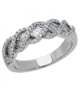 Rings - 0.70 Carat Baguette Cut Diamond Band 18Kt White Gold