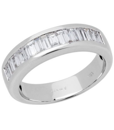 Rings - 0.76 Carat Baguette Cut Diamond Band 18Kt White Gold