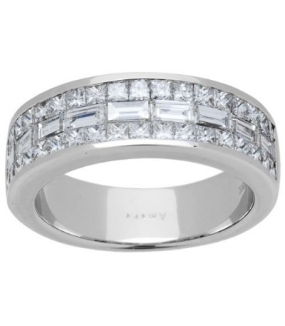 Rings - 1.53 Carat Baguette Cut Diamond Band 18Kt White Gold