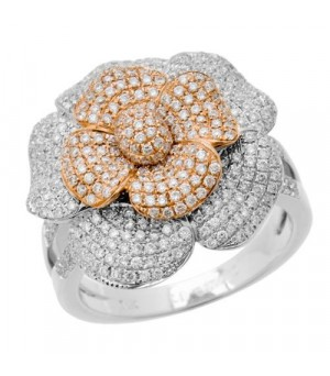 Rings - 1.25 Carat Round Brilliant Diamond Ring 18Kt Two-Tone Gold