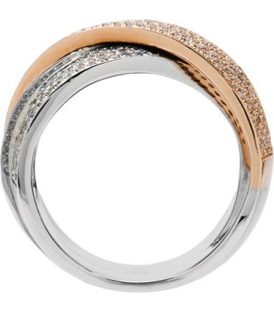 1.32 Carat Round Brilliant Diamond Ring 18Kt Two-Tone Gold