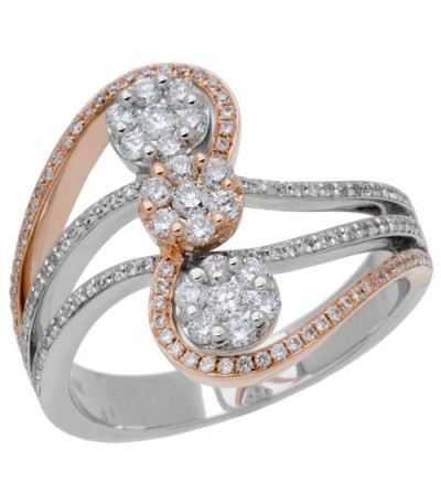 Rings - 0.67 Carat Round Brilliant Diamond Ring 18Kt Two-Tone Gold