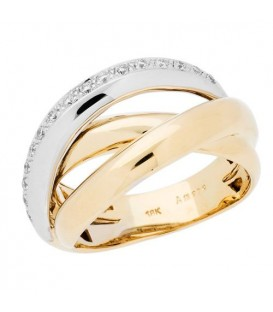 Rings - 0.16 Carat Round Brilliant Diamond Ring 18Kt Two-Tone Gold