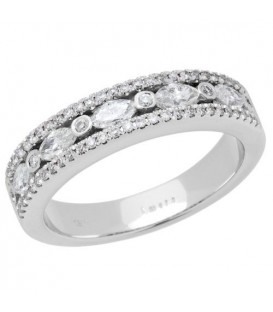 Rings - 0.57 Carat Marquise Cut Diamond Ring 18Kt White Gold