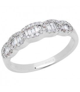 Rings - 0.32 Carat Baguette Cut Diamond Ring 18Kt White Gold