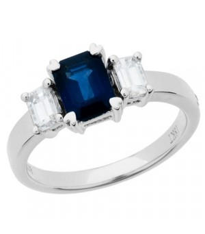 Rings - 1.64 Carat Emerald Cut Sapphire and Diamond Ring 18Kt White Gold