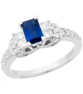Rings - 1.32 Carat Emerald Cut Sapphire and Diamond Ring 18Kt White Gold