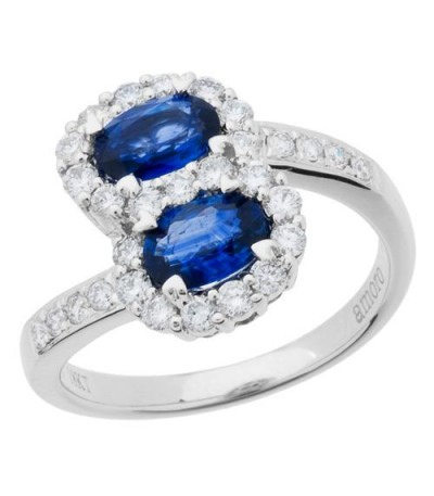 Rings - 1.90 Carat Oval Cut Sapphire and Diamond Ring 18Kt White Gold