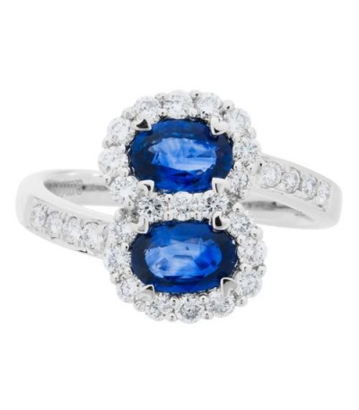 1.90 Carat Oval Cut Sapphire and Diamond Ring 18Kt White Gold