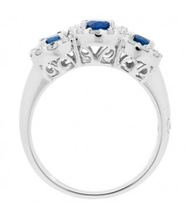 1.75 Carat Oval Cut Sapphire and Diamond Ring 18Kt White Gold