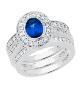 Rings - 1.75 Carat Oval Cut Sapphire and Diamond Stacking Rings 18Kt White Gold