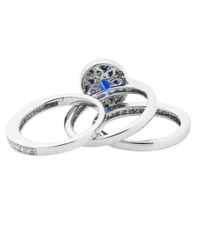 1.75 Carat Oval Cut Sapphire and Diamond Stacking Rings 18Kt White Gold
