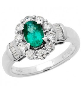 1.72 Carat Oval Cut Emerald and Diamond Ring 18Kt White Gold