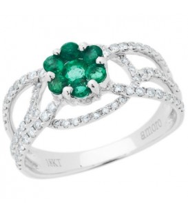 1.05 Carat Round Cut Emerald and Diamond Ring 18Kt White Gold