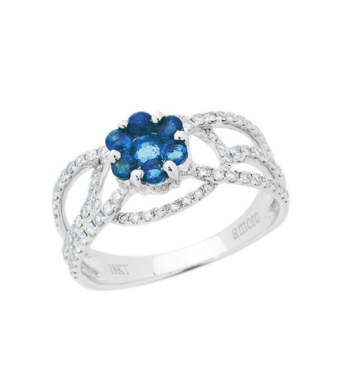 Round Cut 1 25ct Sapphire And Diamond Ring 18kt White Amoro