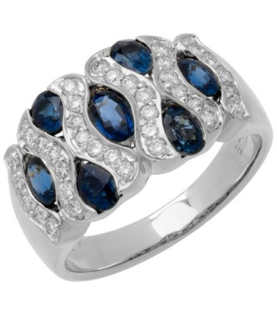 Rings - 2.50 Carat Oval Cut Sapphire and Diamond Ring 18Kt White Gold